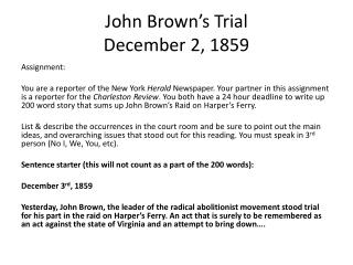 John Brown's  Trial December  2, 1859