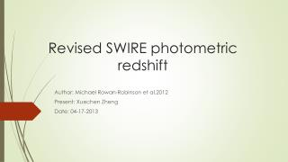 R evised  SWIRE photometric redshift