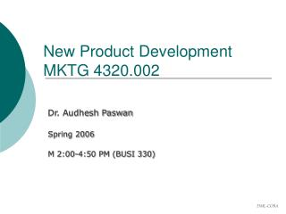 New Product Development MKTG 4320.002