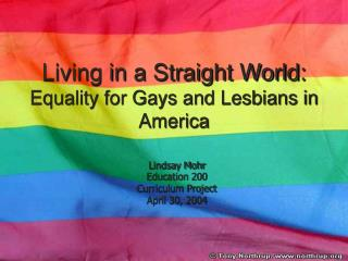 Living in a Straight World:  Equality for Gays and Lesbians in America