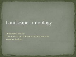 Landscape Limnology