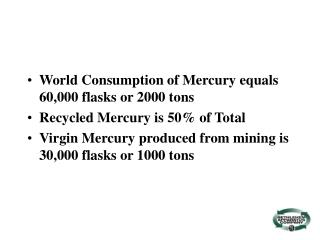 World Consumption of Mercury equals 60,000 flasks or 2000 tons Recycled Mercury is 50% of Total