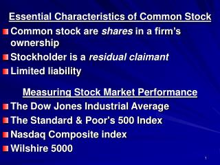 Essential Characteristics of Common Stock