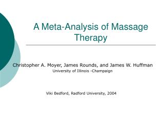 A Meta-Analysis of Massage Therapy