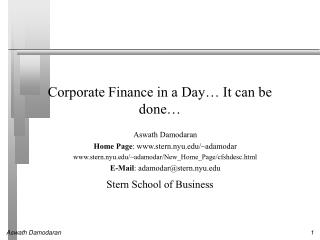 Corporate Finance in a Day… It can be done…