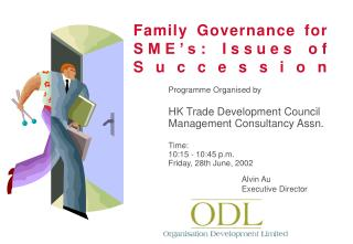 Family Governance for SME's: Issues of Succession