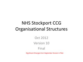 NHS Stockport CCG Organisational Structures