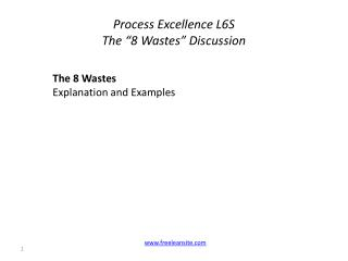 "Process Excellence L6S  The ""8 Wastes"" Discussion"
