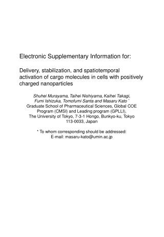 Electronic Supplementary Information  for:
