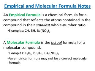 Empirical and Molecular Formula Notes