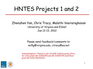 HNTES Projects 1 and 2