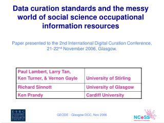 Data curation standards and the messy world of social science occupational information resources