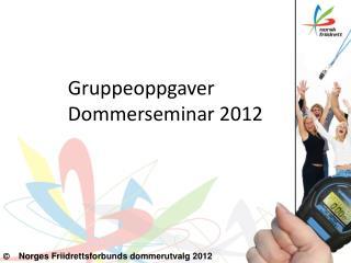 Gruppeoppgaver Dommerseminar 2012