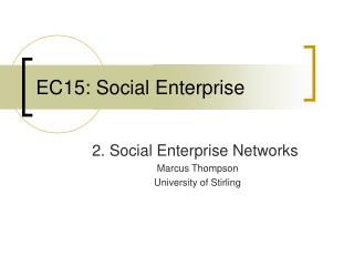 EC15: Social Enterprise