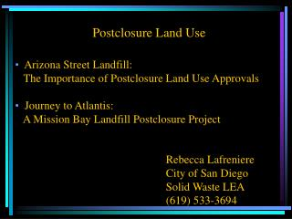 Postclosure Land Use