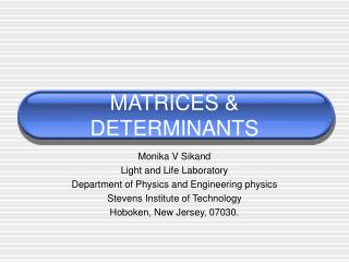 MATRICES & DETERMINANTS