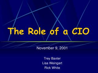 The Role of a CIO