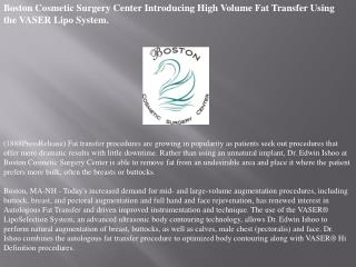 Boston Cosmetic Surgery Center Introducing High Volume Fat T