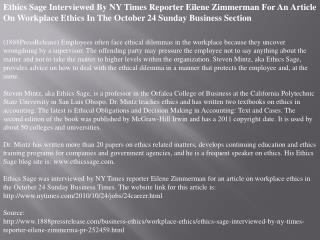 Ethics Sage Interviewed By NY Times Reporter Eilene Zimmerma