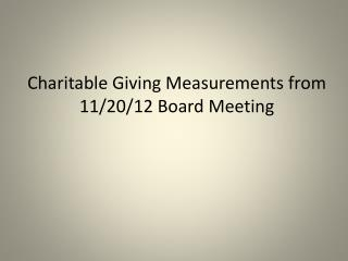 Charitable Giving Measurements from 11/20/12 Board Meeting