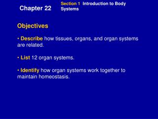 Section 1   Introduction to Body Systems