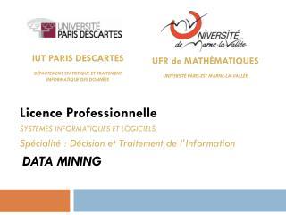 IUT  Paris  Descartes  Département  Statistique et Traitement  Informatique des  Données