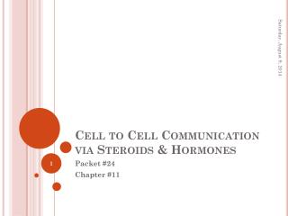 Cell to Cell Communication via Steroids & Hormones