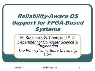 Reliability-Aware OS Support for FPGA-Based Systems