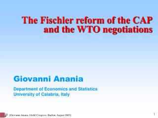 The Fischler reform of the CAP  and the WTO negotiations