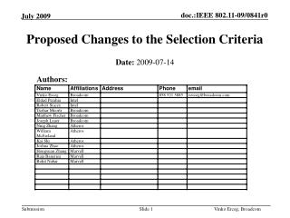 Proposed Changes to the Selection Criteria