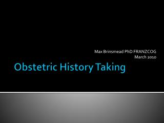 Obstetric History Taking
