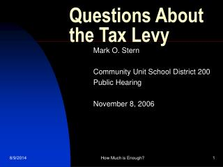 Questions About the Tax Levy