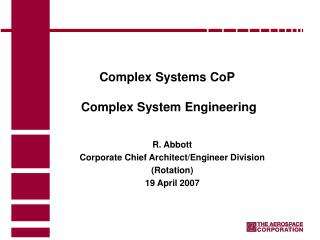 Complex Systems CoP  Complex System Engineering