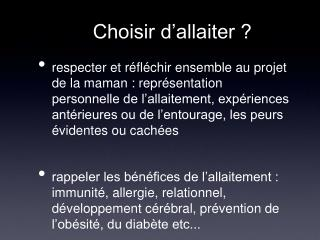 Choisir d'allaiter ?