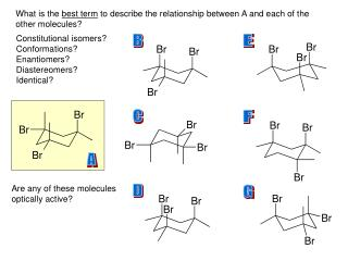 What is the  best term  to describe the relationship between A and each of the  other molecules?