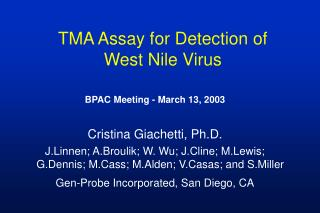 TMA Assay for Detection of  West Nile Virus