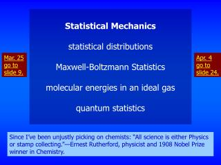 Statistical Mechanics statistical distributions Maxwell-Boltzmann Statistics