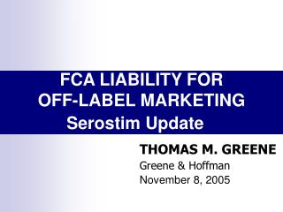 FCA LIABILITY FOR OFF-LABEL MARKETING