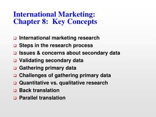 International Marketing: Chapter 8:  Key Concepts