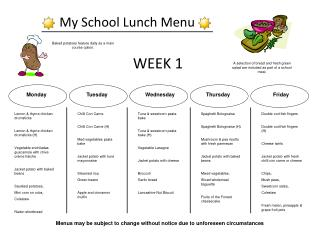My School Lunch Menu
