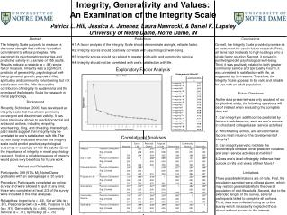 Integrity, Generativity and Values:  An Examination of the Integrity Scale