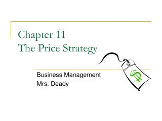 Chapter 11 The Price Strategy