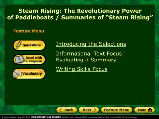 "Steam Rising: The Revolutionary Power  of Paddleboats / Summaries of ""Steam Rising"""