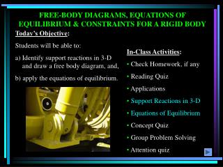 FREE-BODY DIAGRAMS, EQUATIONS OF EQUILIBRIUM & CONSTRAINTS FOR A RIGID BODY