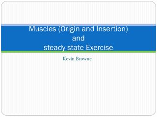 Muscles (Origin and Insertion) and  steady state Exercise