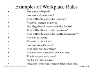 Examples of Workplace Rules