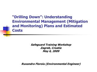 Drilling Down : Understanding Environmental Management Mitigation and Monitoring Plans and Estimated Costs