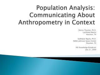 Population Analysis: Communicating About Anthropometry in Context