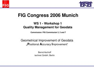 WS 1 - Workshop 1  Quality Management for Geodata