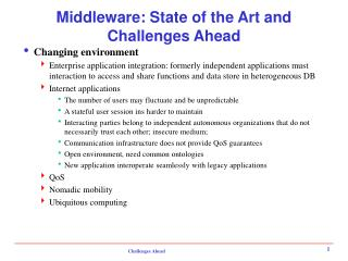 Middleware: State of the Art and Challenges Ahead